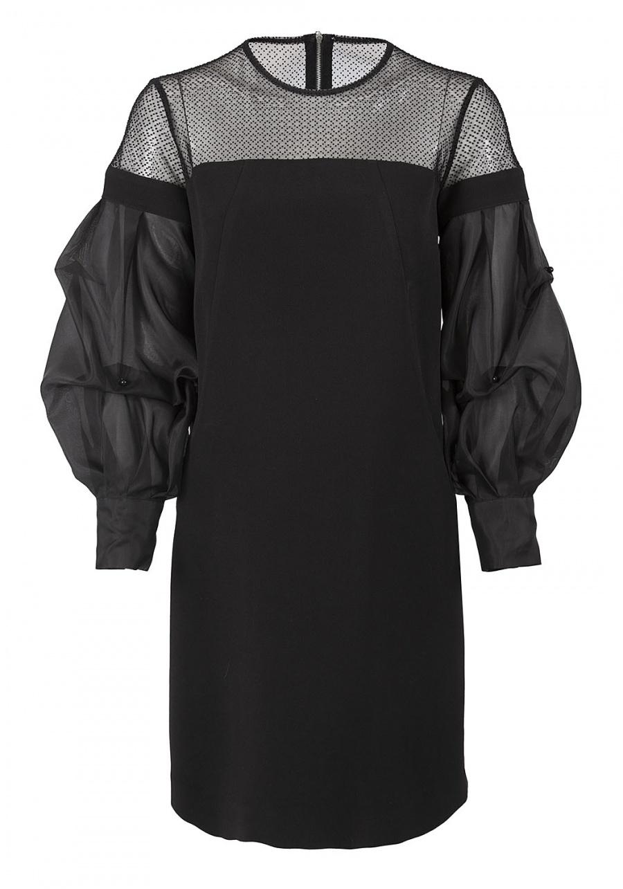 Прямое платье с воздушными рукавами из органзы