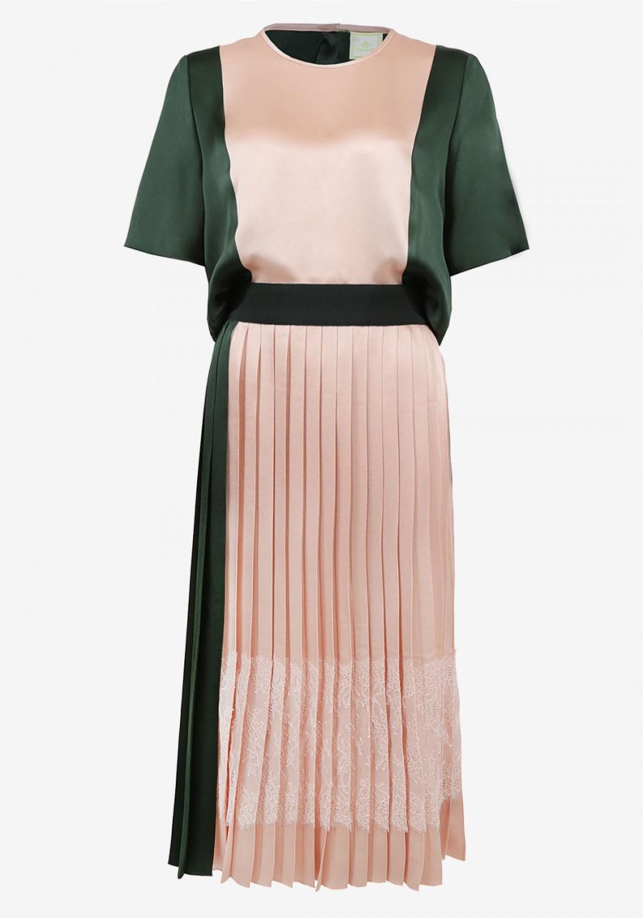 Зелено-розовое платье с напуском и юбкой плиссе