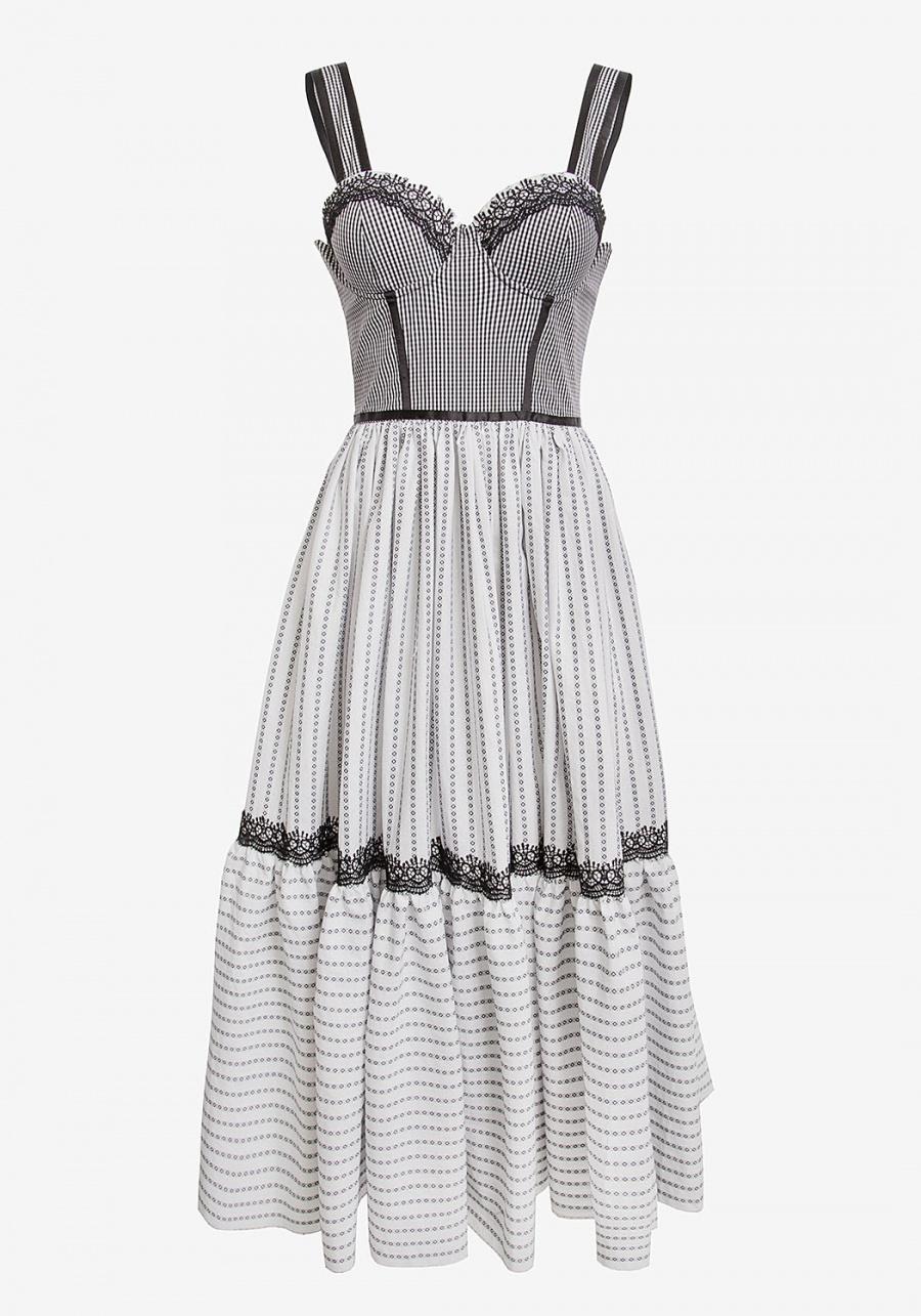 Черно-белое платье с корсетом и пышной юбкой