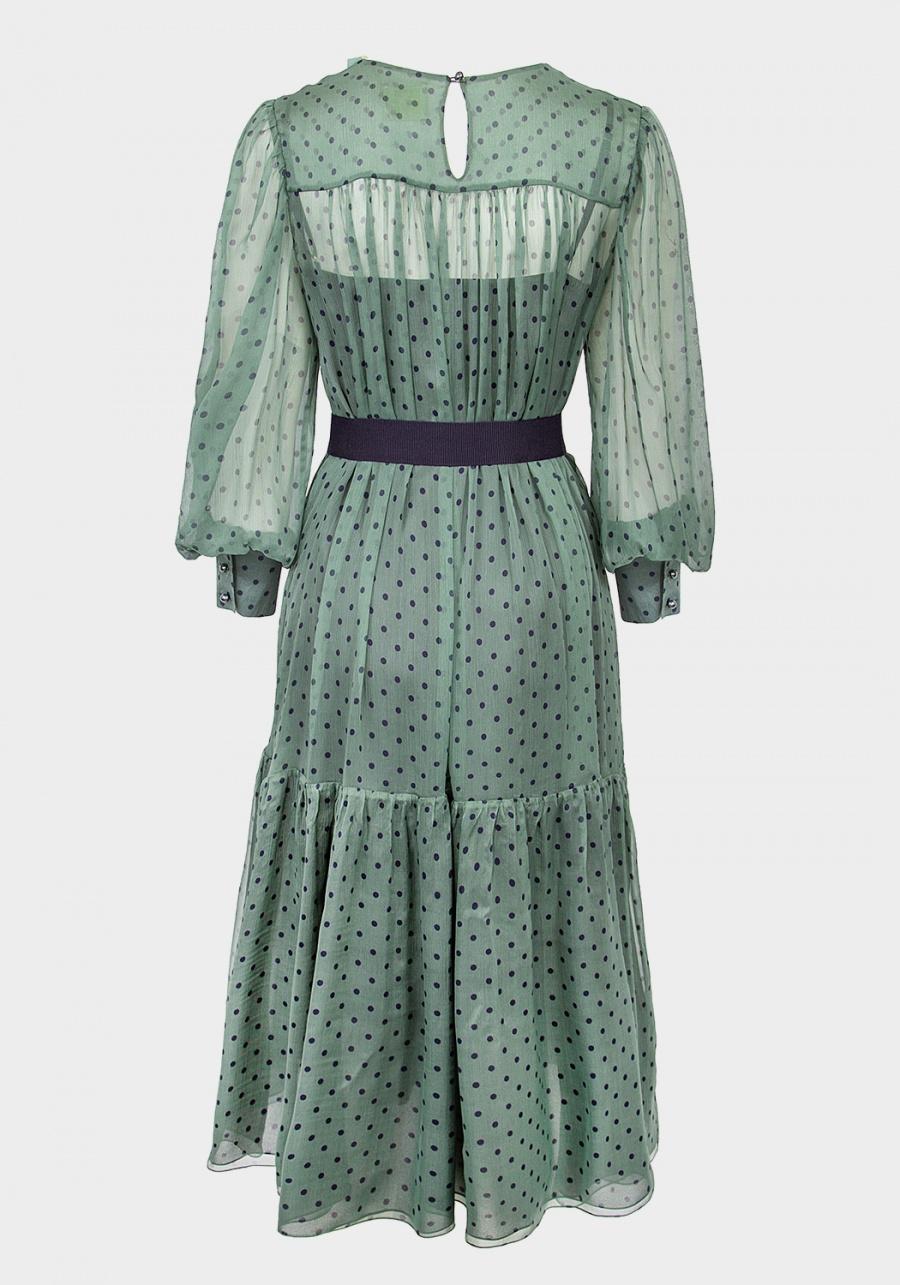 Зеленое платье в синий горох с кокеткой и отрезным воланом со сборкой