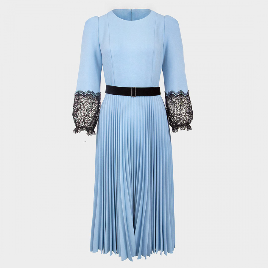Голубое платье с юбкой гофре