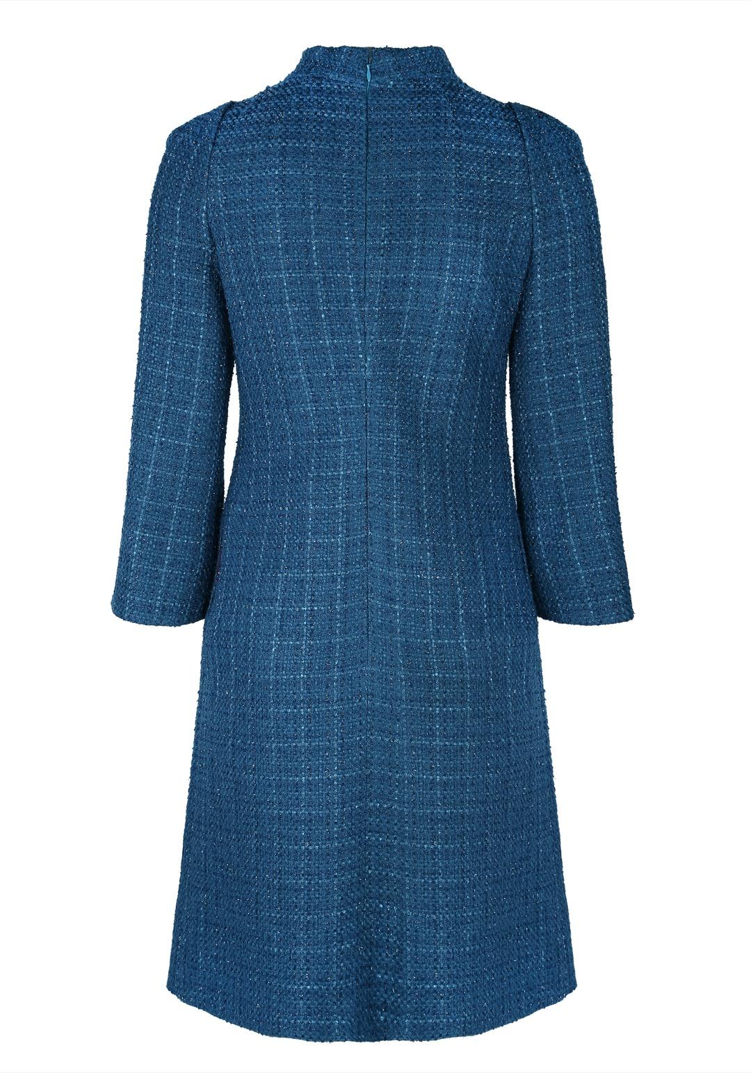 Бирюзовое прямое платье мини в стиле 60-х