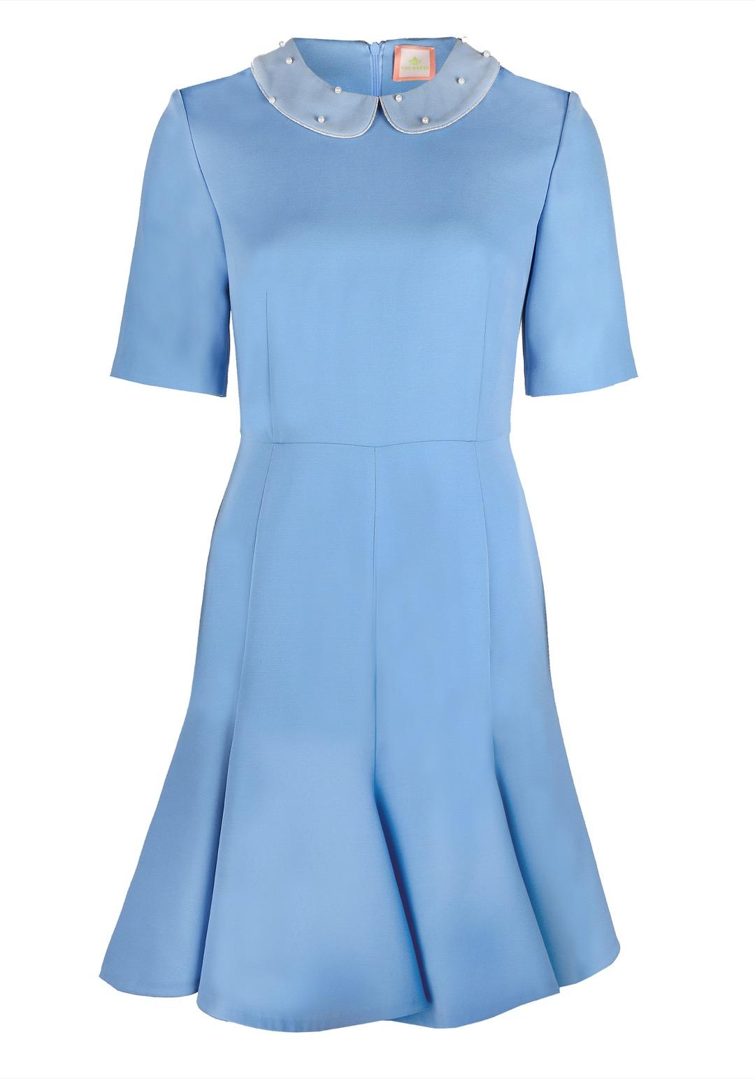 Голубое приталенное платье мини с расклешенной юбкой