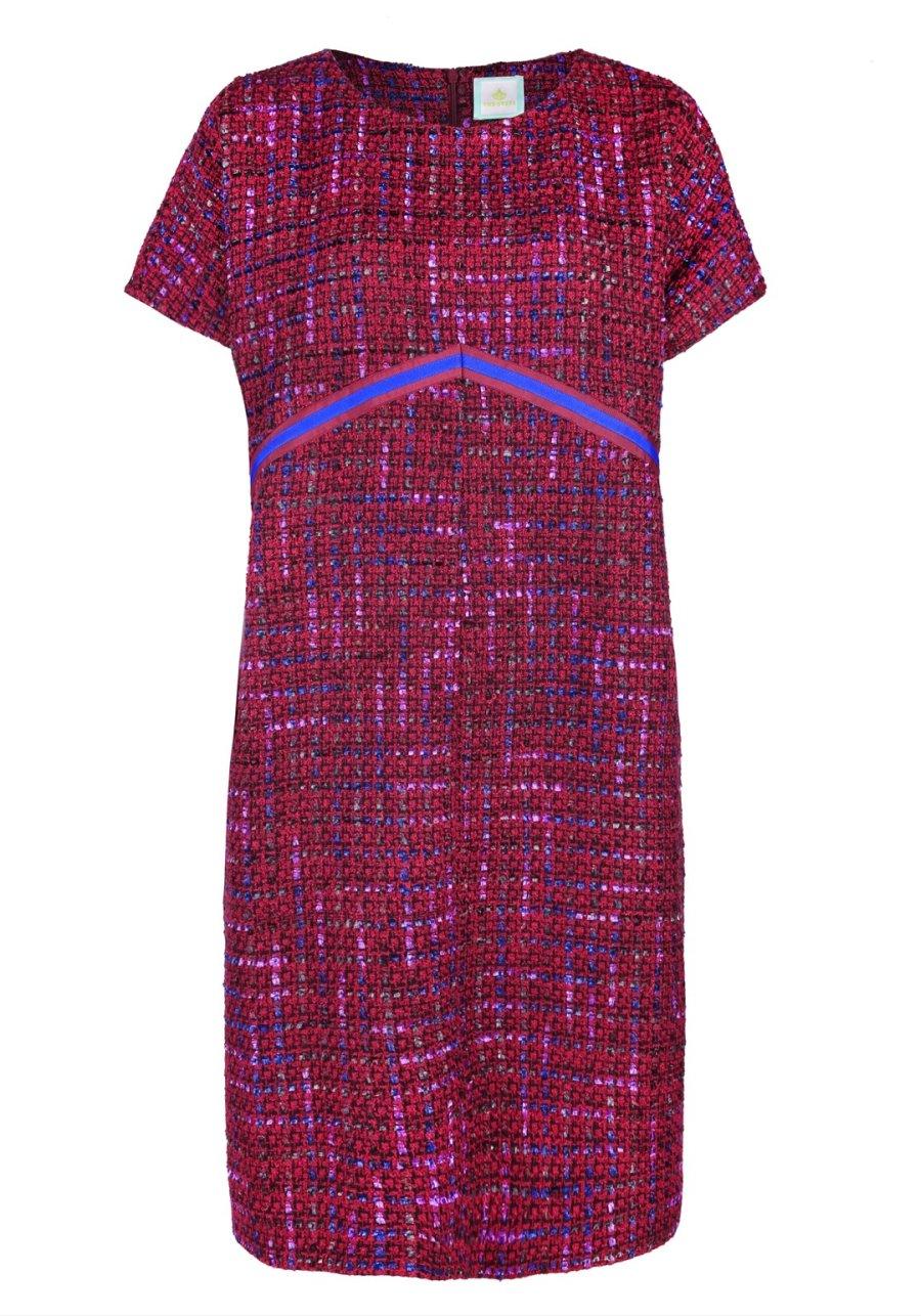 Бордовое платье-баллон с репсовой лентой