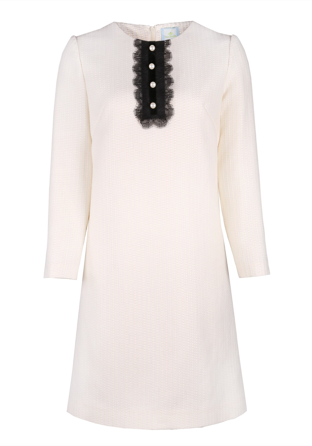 Прямое белое платье мини с декоративной планкой