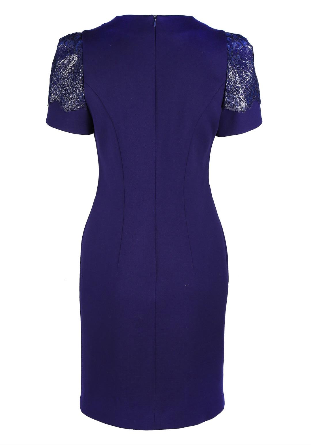 Темно-синее прямое мини-платье с декоративным кружевом на рукавах