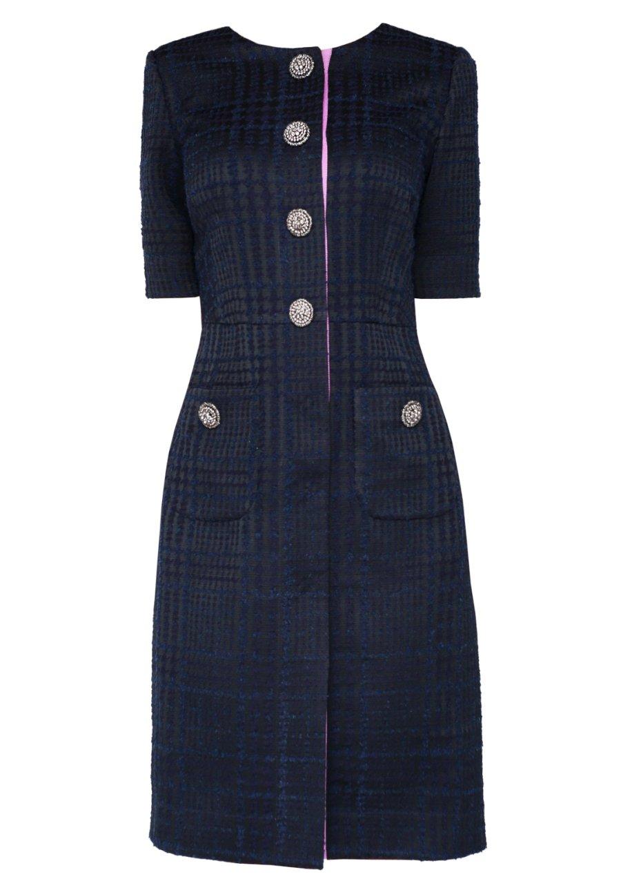 Платье-халат синего цвета с накладными карманами