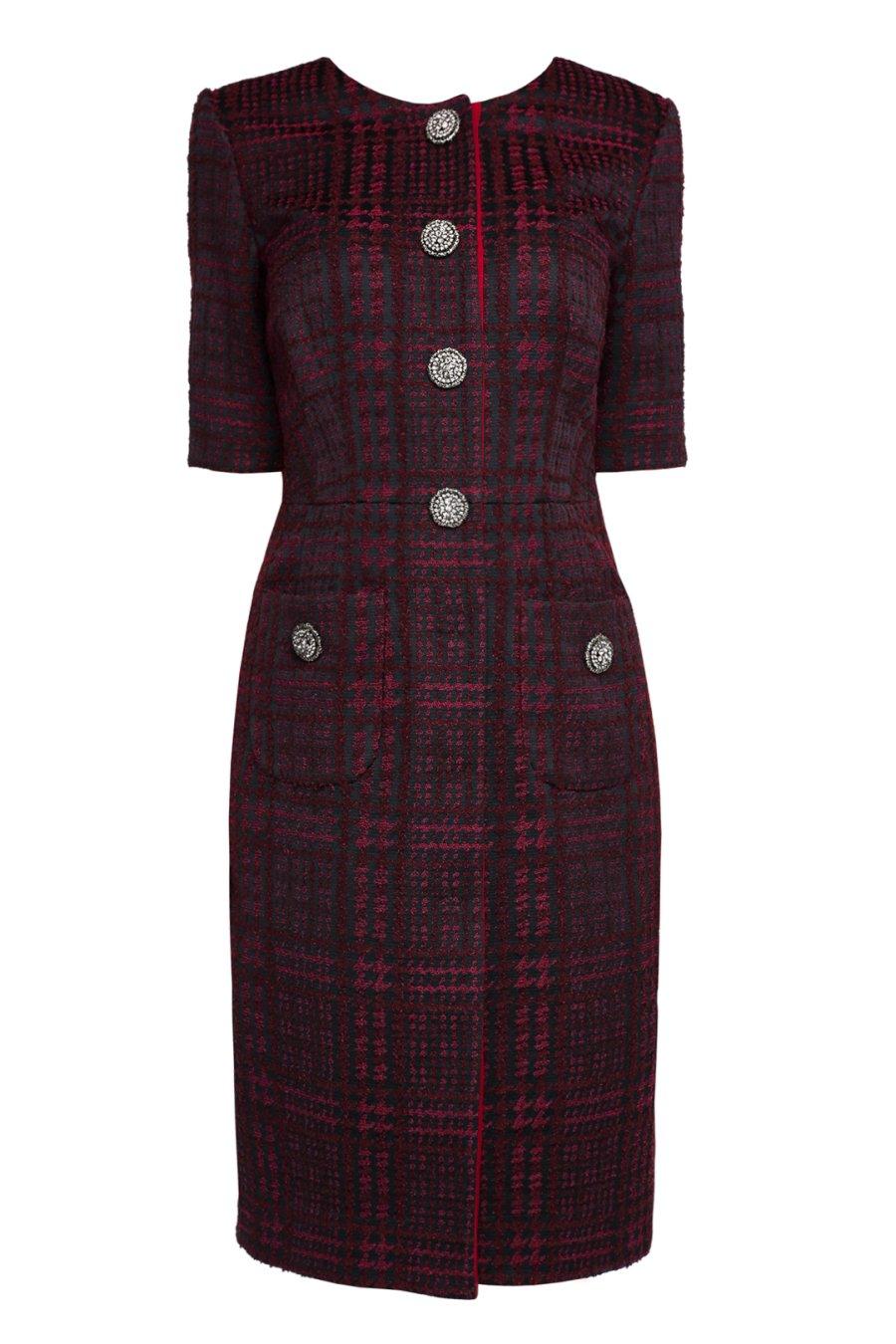 Платье-халат бордового цвета с накладными карманами