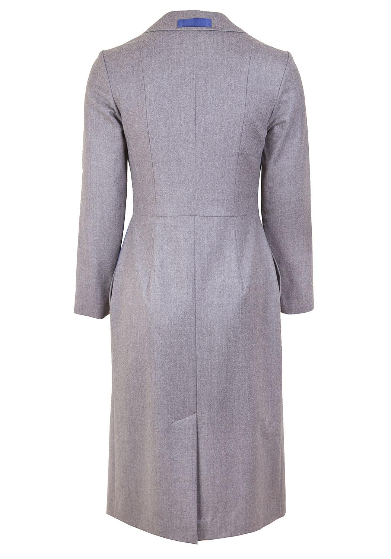 Классическое платье с запахом, декорированное контрастными репсовыми лентами