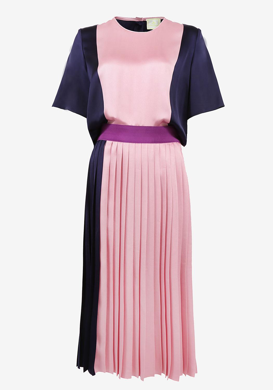 Сине-розовое платье с напуском и юбкой плиссе