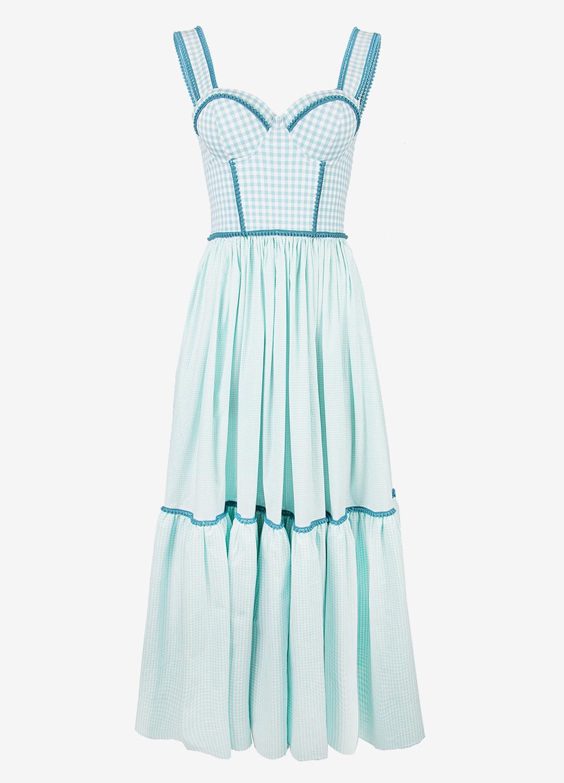 Платье в клетку разных размеров с корсетом и пышной юбкой
