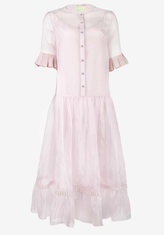 Розовое платье с планкой и воланом по низу