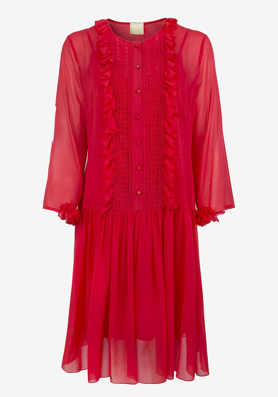 Красное платье с планкой и рюшками