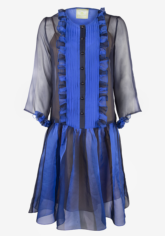 Синее платье с планкой и рюшками